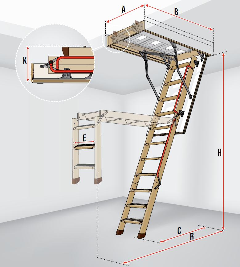 fakro bodentreppen lwl lux mehrteilige bodentreppe aus holz mit gasdruckfeder. Black Bedroom Furniture Sets. Home Design Ideas