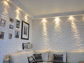 PARMA WHITE, gypsum brick tile with integrated joint