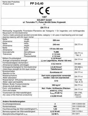 Bloc béton cellulaire SOLBET PP2-040 | Valeur R jusqu'à 4,20