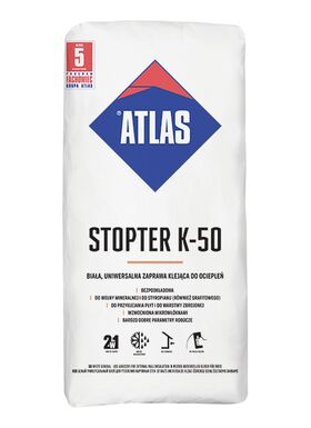 Atlas Stopter K-50 - 2 in 1 - white adhesive both for fixing foamed polystyrene, mineralwool boards and for mesh embedding