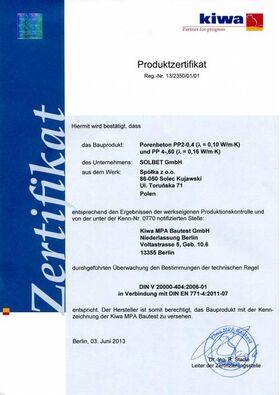 Porenbeton, Gasbeton Planstein SOLBET PP2-040 nach DIN V 4108-4