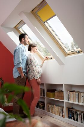 VELUX GZL-B 1051 | wooden, center pivot roof window, with 2-glass and bottom handle